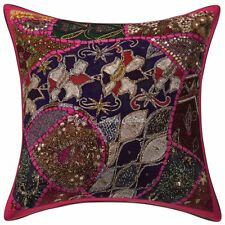 Indian Abstract Pillow Cover Home Decor Zari Embroidered Pillow Cover 16x16""