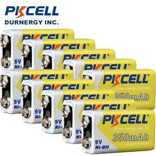 10x NI-MH 9V Batteries PKCELL 350mAH NIMH Rechargealbe 6LR61 EN22 PC1604 Battery