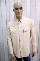 Camicia ARMANI JEANS Uomo Taglia M Cotone Lino Shirt Chemise Casual Manica Lunga