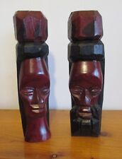 ART WOOD CARVING STATUE  JAMAICAN MAN & WOMAN TIKI STYLE