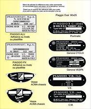PLAQUES Constructeur Motos PIAGGIO - VESPA - VIN PLATES Motos PIAGGIO - VESPA