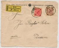 ÖSTERREICH 1892 5kr+15kr REKO-BRIEF-VORDERSEITE, WIEN/CENT.-BRIEF-AUFG. -ZNAIM