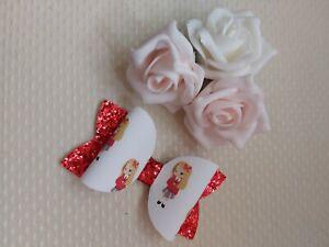 School Girl Hair Bow Clip Red Uniform Blonde Hair glitter 3 inch