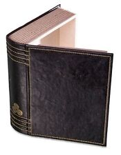 Secret Hidden Storage Book Box - black faux leather with gold stitching.