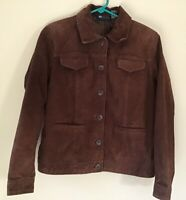 Relativity Women's Brown Suede Leather Jacket Blazer Fully Lined Button Front M