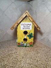 BIG Rustic Wooden Yellow Farmhouse Birdhouse