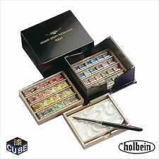 Holbein Artists' Pan 48 Water Color Set Cube Box with Brush Palette PN699
