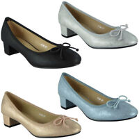 Womens Ladies Low Mid Heel Bow Comfy New Office Work Casual Court Shoes Size