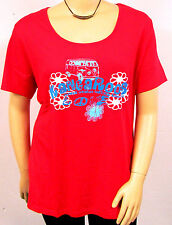 New KangaROOS Women's Long Shirt Short Sleeve Red with Design Crew Neck Plus
