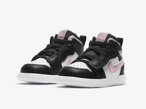 Jordan 1 MID ALT (TD) AT4613 103 White/LT Arctic Pink-Black New Toddler Size 8c