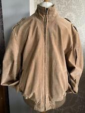 Mens Blue Harbour M&S Genuine Suede Leather, Sand Bomber Jacket Sz Large Smart
