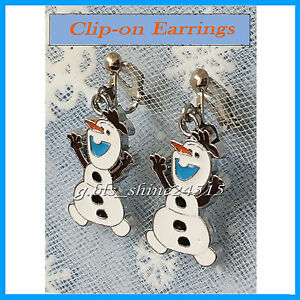 Disney Frozen Olaf Clip-On Earrings Silver Plated Christmas Girls Kids Gift