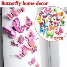 12 Stücke DIY 3D Schmetterling Wandaufkleber Zimmer Aufkleber Dekoration Dekor