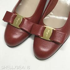 SALVATORE FERRAGAMO VARA Low Heels Pumps Flats RED Snake 8 3A N LOGO BOW NEW