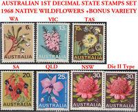 Australia 1968 Wildflowers SET State Emblem Stamps + Rare 30c NSW Waratah Type 2