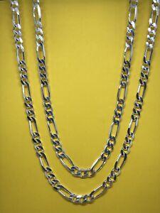"925 Genuine Sterling Silver 7mm Mens  Figaro Lınk Chain  22"" 24"" Brand New"