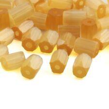 Vintage Czech golden topaz satin atlas pentagon faceted glass beads. (50) 6mm