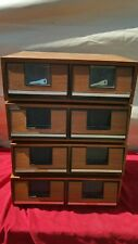 VHS movie storage box set of 4 plastic  2 drawer container slots stackable key
