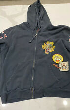 Ed XXL black Hardy Christian Andigier hoodie with patches Tiger Skull Graphic