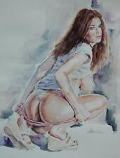 Original Illegibly Signed Watercolor of a Beautiful Squatting Nude Woman