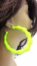 LARGE BAMBOO HOOP EARRINGS NEON YELLOW BAMBOO HOOPS FULL HOOP EARRINGS 3.5 INCH