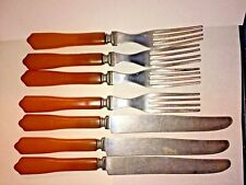 Set 7 Vtg Cutlery Bakelite Catalin 3 Knives 4 Forks Amber Butterscotch US As Is