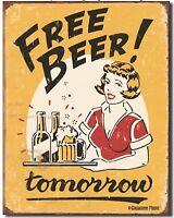 "Free Beer Tomorrow Metal Tin Sign Retro 12.5"" X 16"" Garage Bar Home Decor New"