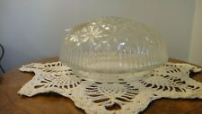"""Clear Glass Embossed Star Art Deco Ceiling Light Shade~Flush Mount Fixture 6""""Fit"""
