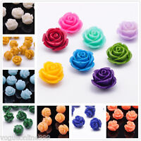 10pcs 8/10/12/14/16/18mm Resin Flower Shape Charms Loose Spacer Beads Crafts LOT