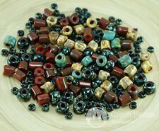 Anissa Exclusive Picasso Mix Czech Glass Large Hole Tube Seed Beads Rustic Multi