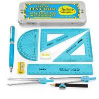 Helix Oxford Clash Maths Set - 9 Piece Blue + Premium Ballpoint Pen - Blue