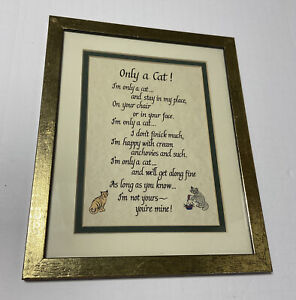 Cat Lovers Only a Cat Poem Framed Picture Wall Art Decor Novelty Fun 11x9 in VTG