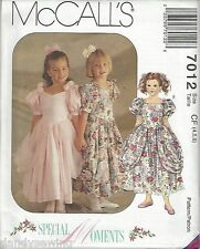 McCall's Sewing Pattern # 7012 Girls Party Dresses Sizes 4-5-6