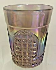 Vintage Carnival Glass Iridized Purple Amethyst Tumbler Signed Terry Crider Rare
