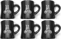 Set of 6 Roasters Coffee Tea Mugs Black 12oz Artistic Cafe Mugs