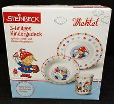 Steinbeck Wichtel Gnomes 3 Piece Childrens Dinnerware Set Germany New in box