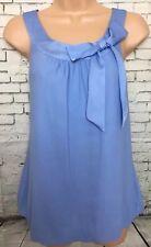 H&M 8 Vgc Pale Blue Sleeveless Bow Neck Bubble Hem Longline Tunic Blouse Top
