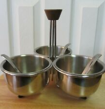 Vintage Mid-Century Foley Condiment Server with 3 8oz Bowls, Ladles & Stand