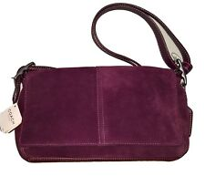 COACH PURSE RED WINE KID SUEDE ADJUSTABLE LEATHER SHOULDER STRAP Purse Small NWT
