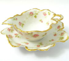 Haviland Limoges Mayonnaise 2 Piece Set Pink Roses Gold Trim France Scallop Edge