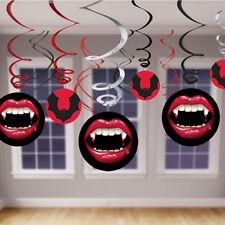 12 x Halloween Vampire & Bats HANGING SWIRLS Bumper Value Pack Party Decorations