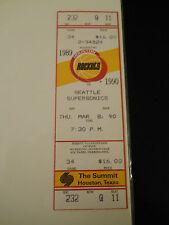 1990 Houston Rockets vs. Seattle Supersonics Full Unused Ticket Stub (SKU1)