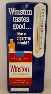 Vintage 1960's WINSTON Cigarettes Embossed Metal Store Advertising Thermometer