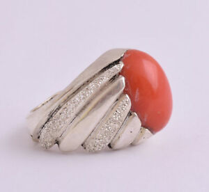 Red coral 925 Silver Men Ring-Handcrafted Genuine natural untreated red coral