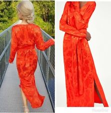 ZARA NEW SS18 RED LONG SLEEVE KNOT MAXI DRESS SIZE XS