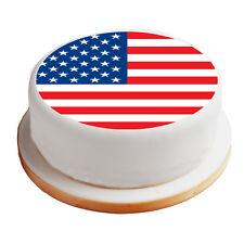 "American / America / US Flag - 8"" Pre-Cut Round Cake Topper Premium Icing Sheet"