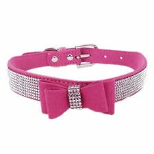 Cute Sparkling Diamond Crystal Rhinestone Leather Small Pet Dog Cat Collar Puppy