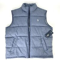 US Polo Assn Mens Large Blue Puffer Vest Full Zip Insulated Polyester