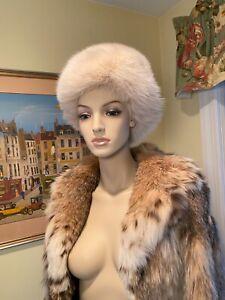 Genuine Natural Blush White ARCTIC FOX FUR Womens Hat Size 6-5/8 X-Small