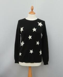 Cynthia Rowley 100% Soft 2 Ply Cashmere Black & White Round Neck Star Jumper S